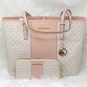 Nwt Michael Kors bundle center stripe bag+wallet